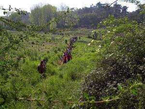 Passeio pelos terrenos do futuro Parque Oriental organizado pela Campo Aberto em Abril de 2004